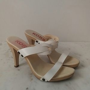 MICHAEL KORS - wood and leather strap sandals